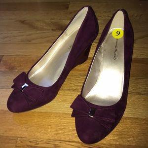 Burgundy  suede wedge heels